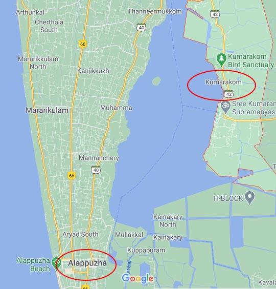 ¿Desde donde salen los barcos para recorrer los backwaters de Kerala?