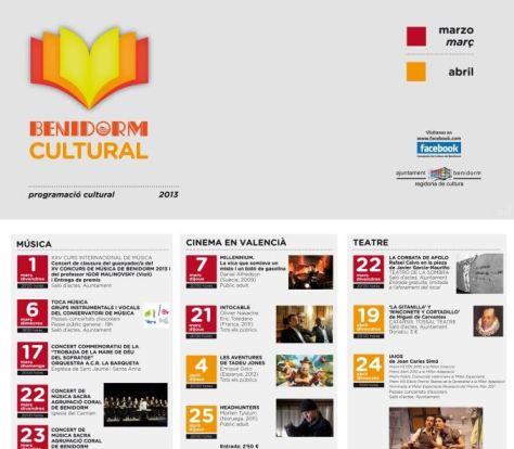 Benidorm cultural, marzo y abril de 2013