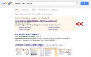 Ejemplo de resultados con Google AdWords