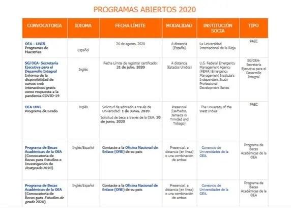 Convocatorias Becas OEA 2020