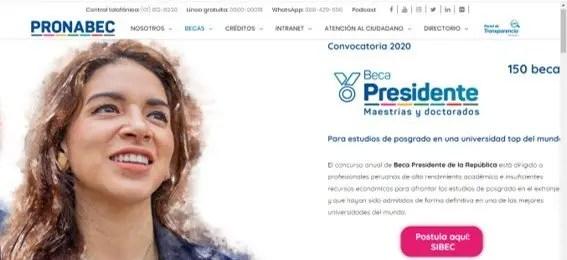 Página web Beca Presidente