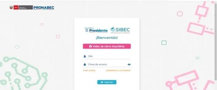 Creación de usuario para aplicar a la beca presidente