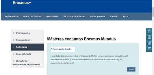 ingresar a la pagina oficial de erasmus mundus