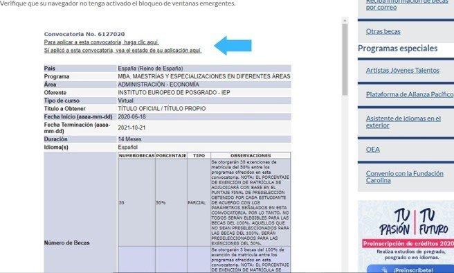indicación de donde aplicar a la beca seleccionada