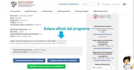 información detallada del programa elegido para estudiar en rusia