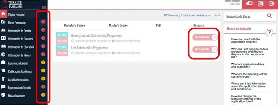 diligenciar formulario para aplicacion beca turquia