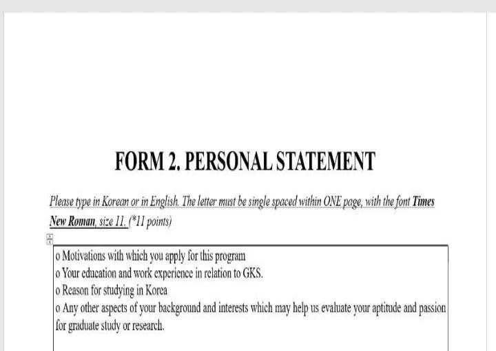 Personal statement beca GKSP del Gobierno de Corea.