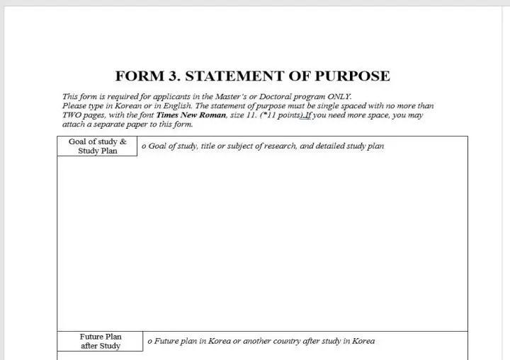 Statement of purpose beca GKSP del Gobierno de Corea.
