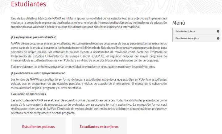 Sección de estudiantes de la página web NAWA