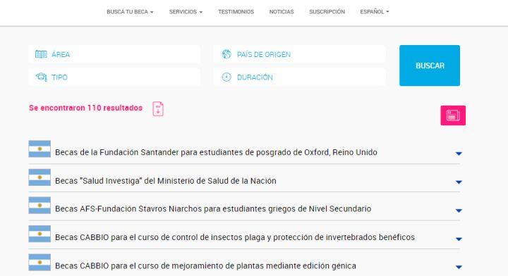 Ejemplo de la sección Estudia en Argentina.