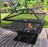 Square Fire Pit BBQ Grill Outdoor Garden Firepit Brazier ...