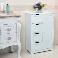 White Wooden 4 Drawer Bathroom Storage Cupboard Cabinet ...
