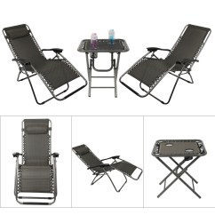 Zero Gravity Chair With Side Table Inexpensive Lounge Cushions Reclining Lounger Chairs Folding Garden