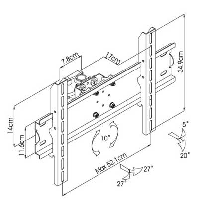 Professional LCD / Plasma Wall Mount Bracket up to 40