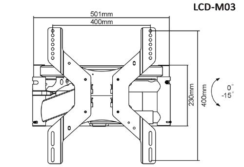 LCD-M03 Black Tilt LCD LED Plasma Wall Mount Bracket, LCD-M03
