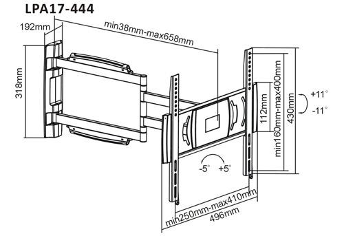Black Universal Flat Panel- LPA17-444, LPA17-444