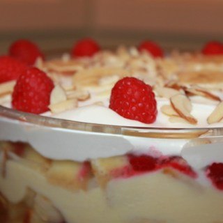English Trifle with Raspberries, Bananas and Sherry