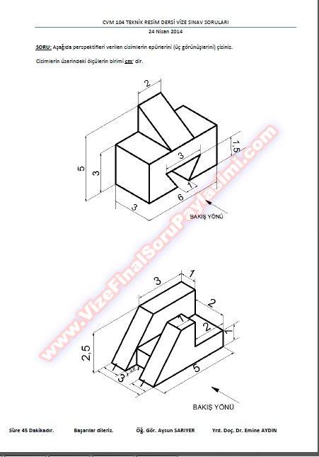 Teknik Resim Final Soruları Ve Cevapları-2014 » Vize ve