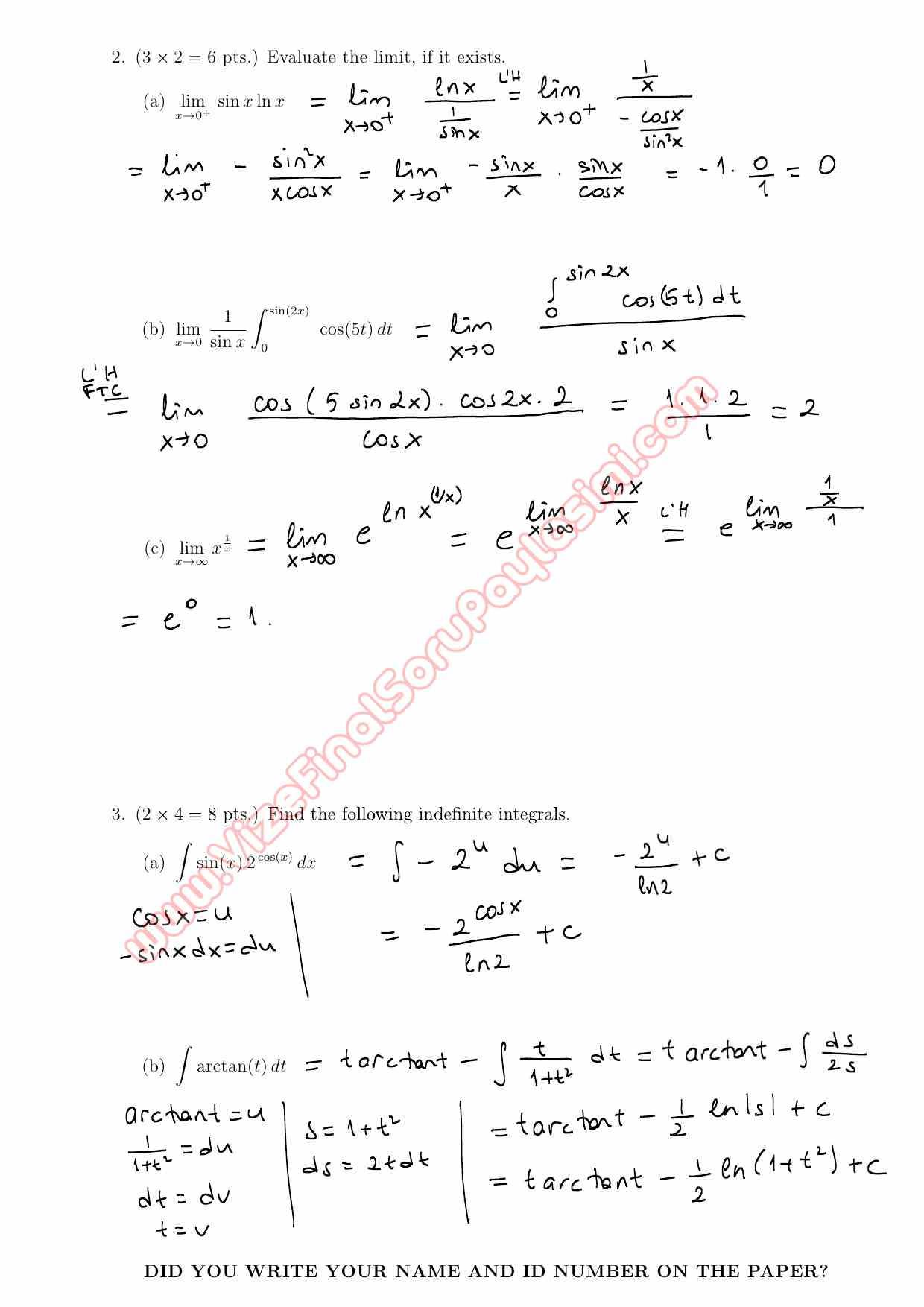 Calculus Withytic Geometry Third Short Exam Questions And Solutions Summer Sayfa 2