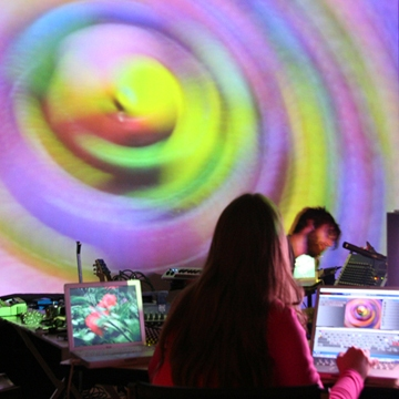 Carrie Gates VJing at Artspace in Peterborough