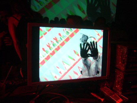 VJ Carrie Gates performing at the Kassel Dokfest, 2010