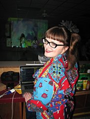 Carrie Gates VJing at a rave in Regina in 2012