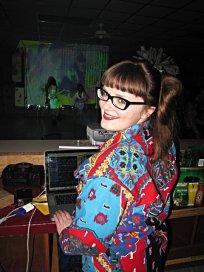 Carrie Gates VJing at a rave in Regina in 2012