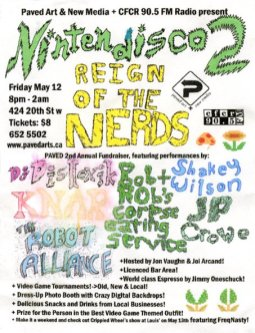 """NINTENDISCO 2 """"Reign of the Nerds"""" Electronic Music Event at PAVED Arts - Design by Jon Vaughn"""