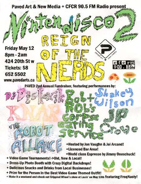 "NINTENDISCO 2 ""Reign of the Nerds"" Electronic Music Event at PAVED Arts - Design by Jon Vaughn"