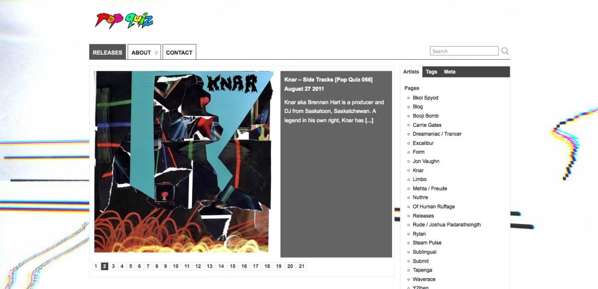 Pop Quz net.label screenshot - August 2011