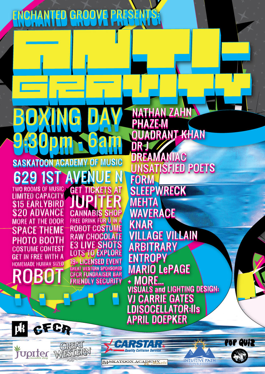ANTI-GRAVITY Poster - Boxing Day 2011 - Saskatoon, SK, Canada - Design by Carrie Gates