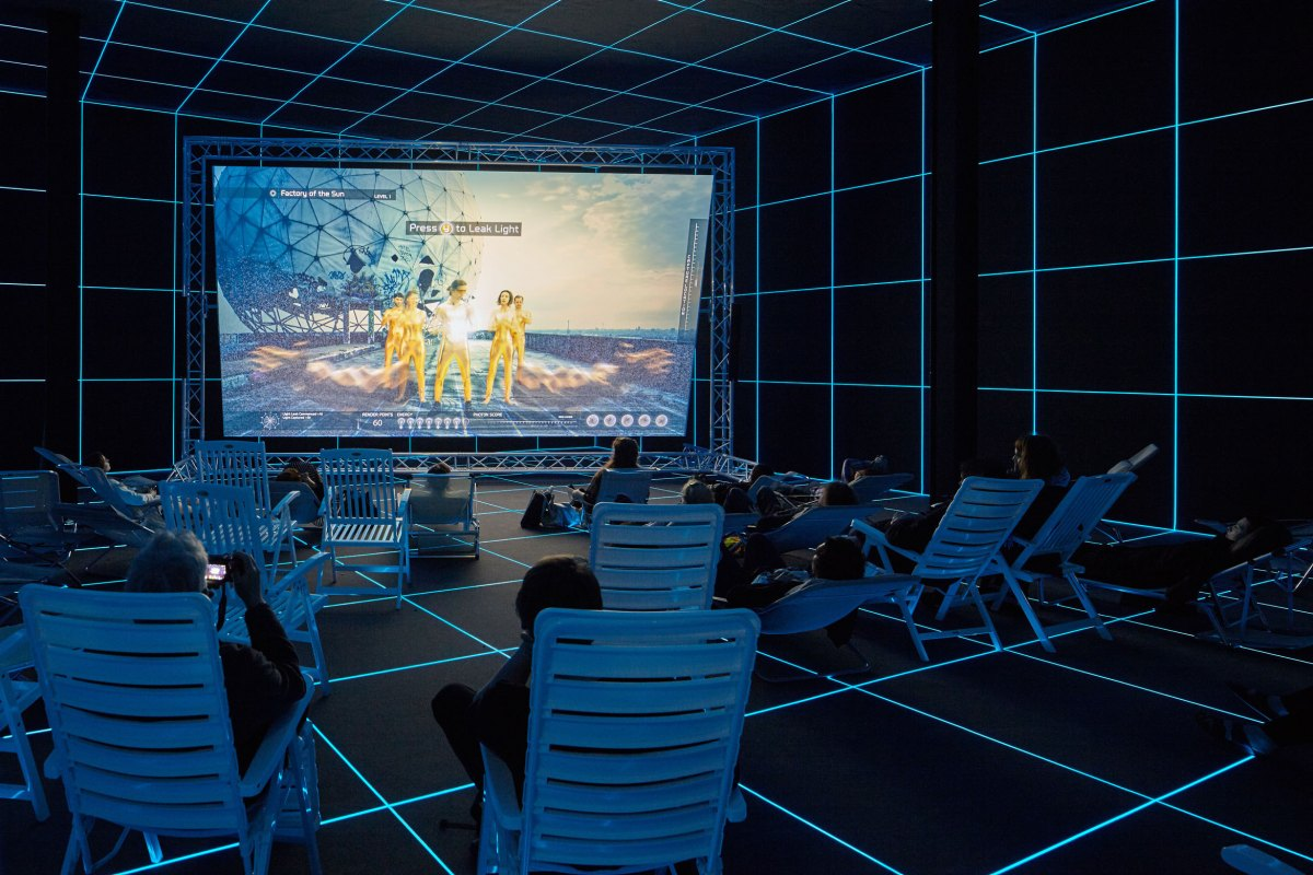 Hito Steyerl (b. 1966), Installation view of Factory of the Sun, 2015