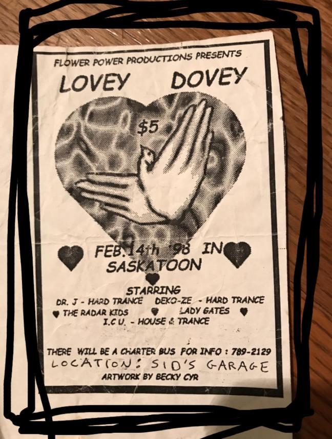 Lovey Dovey Flyer from Regina Rave in 1998