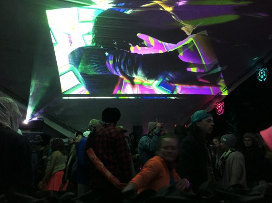 VJ Carrie Gates performing at the Motion Notion 2017 Festival at the Ancient Gardens Stage