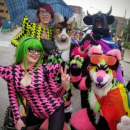 Pride Festival Parade 2019 in Saskatoon with Carrie Gates, Elise Pallagi, and Furry Friends