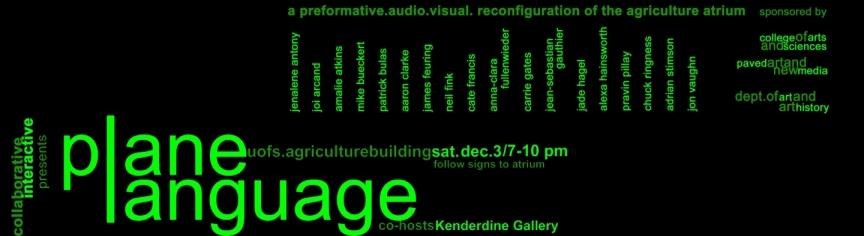 plane language - Flyer for University of Saskatchewan multimedia event