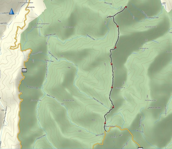 This is the full track from Damantina Hut to Federation Hut, Mt Feathertop and return (note the errors in the map locations for Mt Hotham and Hotham Heights!)