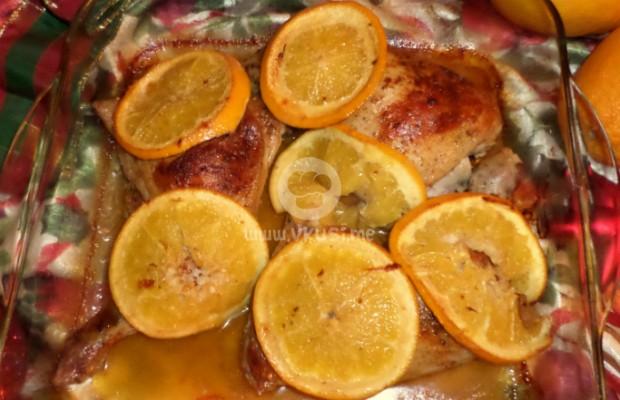Печени пилешки бутчета с портокали