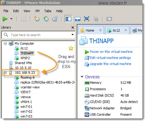 VMware Workstation 8.0 drag-and-drop Feature in action