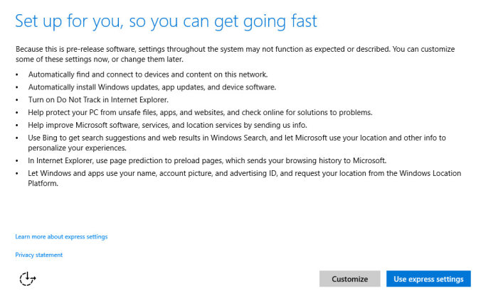 Setup page Windows 10 Technical preview