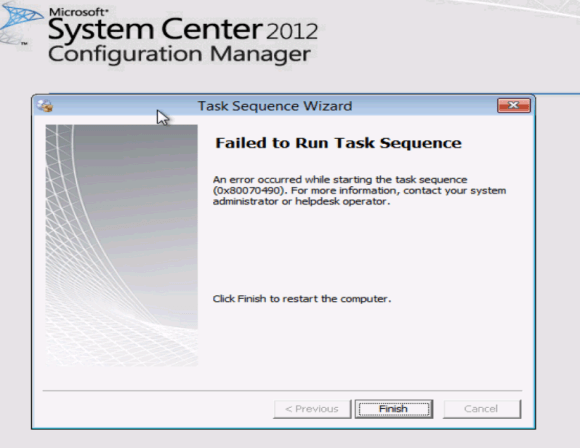 Failed to run task sequence 0x80070490 - error message