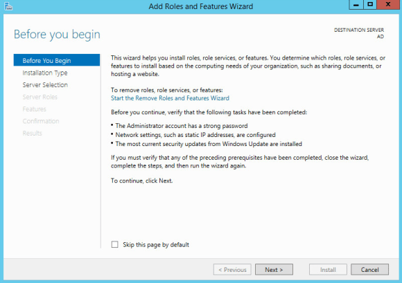 Installing Active Directory and DNS on Windows Server 2012 R2 - Before you begin page