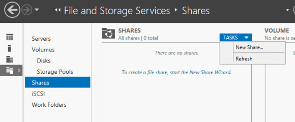 Roaming profiles File and Storage Services New Share