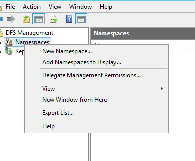 create a roaming profile Choose New Namespace