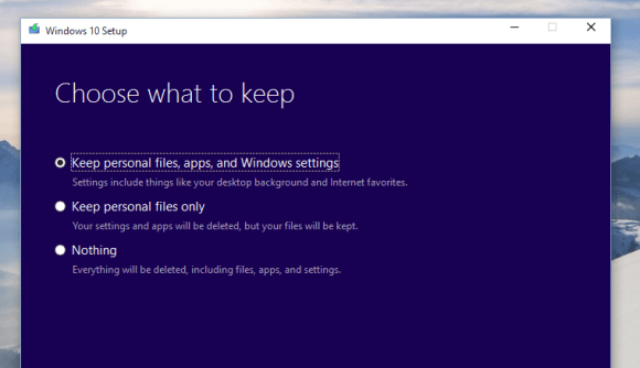 Upgrading Windows 10 Technical Preview version 10162 - Change what to keep