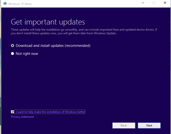Upgrading Windows 10 Technical Preview version 10162 - Get updates