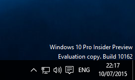 Upgrading Windows 10 Technical Preview version 10162 - build 10162