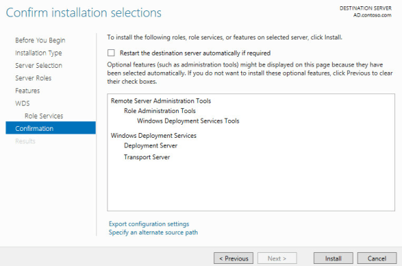 Windows Deployment Services - Confirm installation selections