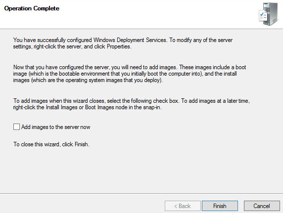 Windows Deployment Services - Operation complete