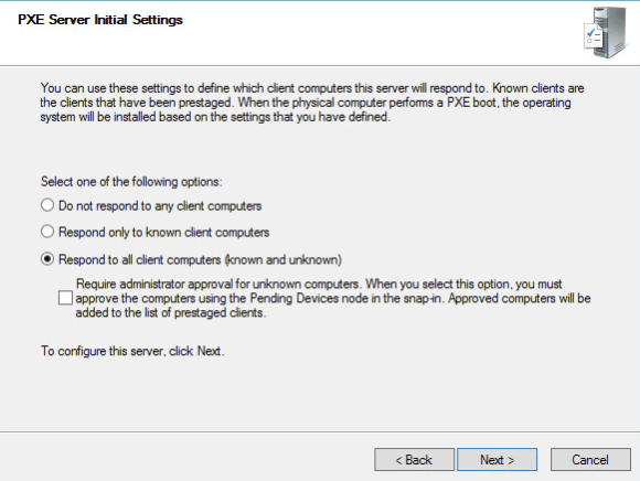 Windows Deployment Services - PXE server initial settings